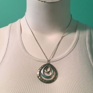 Costume gold and silver pendant necklace